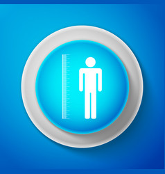 Measuring height body icon on blue background vector