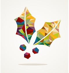 Merry Christmas mistletoe shape with triangle vector image