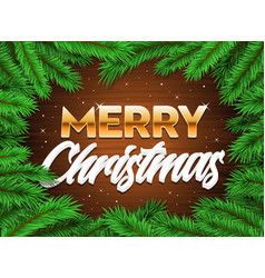 merry happy christmas banner tree branches xmas vector image