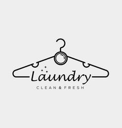 Minimalist laundry logo design hanger line art vector