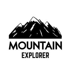mountain explorer emblem template with rock peak vector image