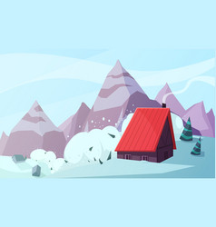 mountain snowstorm flat composition vector image