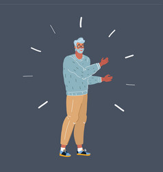 nerd man on dark background vector image