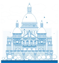 Outline Basilica of the Sacred Heart Paris vector