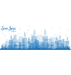 outline san jose california skyline with blue vector image