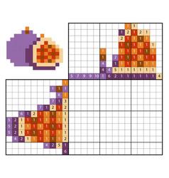 Paint number puzzle nonogram figs vector