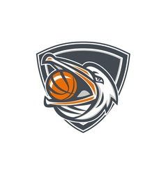 Pelican Basketball In Mouth Shield Retro vector