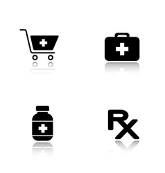 Pharmacy website drop shadow icons set vector