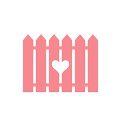Pink fence with cut heart vector