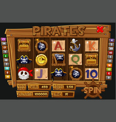 pirates graphical interface and icons for slot vector image