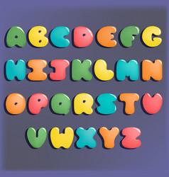 plump handwritten alphabet colorful set vector image