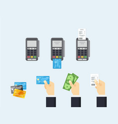 pos terminal and credit card processing vector image