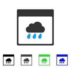 Rain cloud calendar page flat icon vector