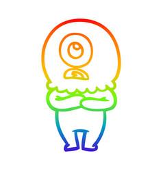 Rainbow gradient line drawing cartoon cyclops vector