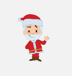 santa claus waving with a dreamy expression vector image