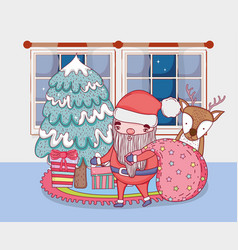 santa claus with bag and deer in the house vector image