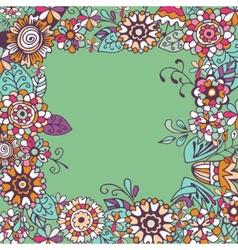 Seamless floral frame on green background vector