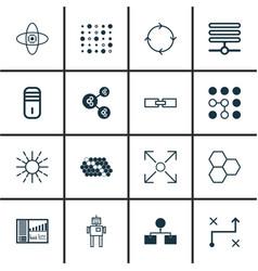 Set of 16 robotics icons includes lightness mode vector