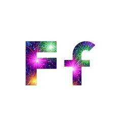 Set of letters firework F vector image