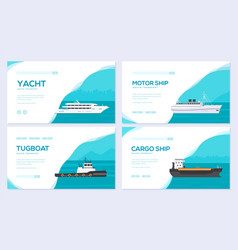 set of yacht boat cargo ship steamship ferry vector image