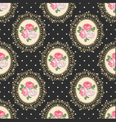 Shabchic rose seamless pattern on black polka vector