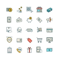 Shopping E-commerce iconsset vector