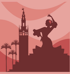 Silhouette of flamenco dancer palms and monuments vector