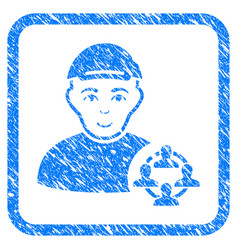Social networker framed stamp vector