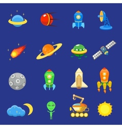 space icons set rocket galaxy planet ufo sun vector image