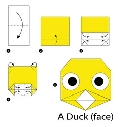 Step instructions how to make origami a duck vector