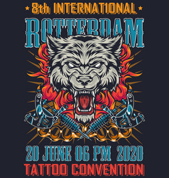 tattoo convention in rotterdam vintage poster vector image