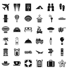 Travel time icons set simple style vector