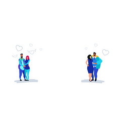 two couples in love happy valentines day concept vector image
