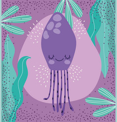 Under sea jellyfish seaweed wide marine life vector