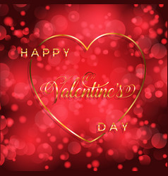 valentines day background with gold heart and vector image