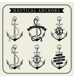 Vintage nautical anchors set label vector