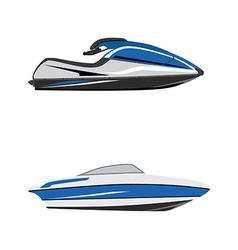 Water scooter and boat vector image