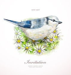 watercolor painting cute bird on flowers i vector image