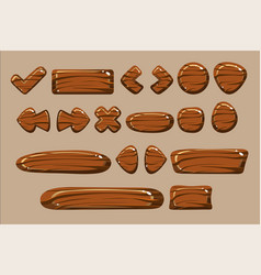 wooden buttons different shapes set details vector image