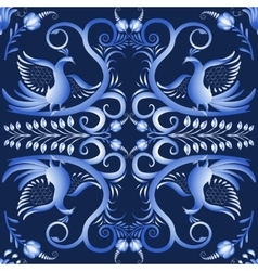 Dark blue seamless pattern with birds in the vector image vector image