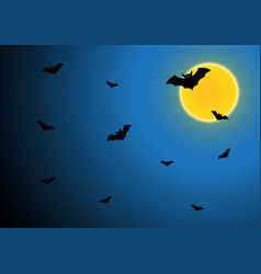 halloween bat fly with moon and sky vector image vector image