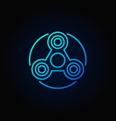 simple fidget spinner blue icon vector image