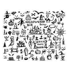 Sketch of halloween design elements vector image