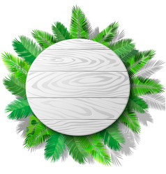 wooden circle and palms vector image vector image