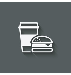 coffee and burger fast food vector image