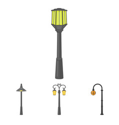 lamppost in retro stylemodern lantern torch and vector image