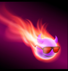 Purple burning ball with horns vector