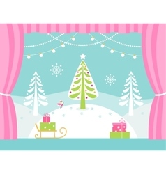School or Theatre Stage Decorations for Christmas vector image vector image