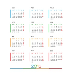 2015 Full Calendar template vector image