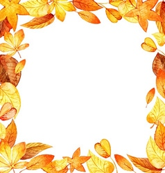 watercolor leaves square frame vector image